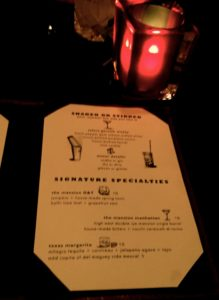 Drink List at the Mansion Bar